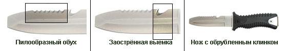 Нож с зубчатым обухом
